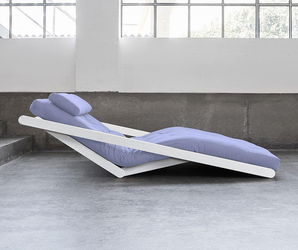 Figo Wide White and Breeze Blue Kihúzható nappali heverő