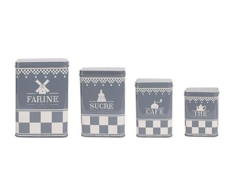 Zestaw 4 pudełek z pokrywką De Famille