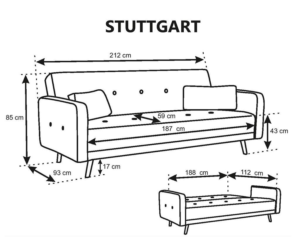 Разтегателно триместно канапе Stuttgart Silver