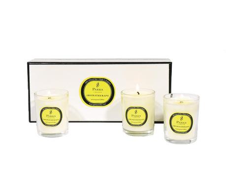 Set 3 dišečih sveč Parks Lemongrass & Mint