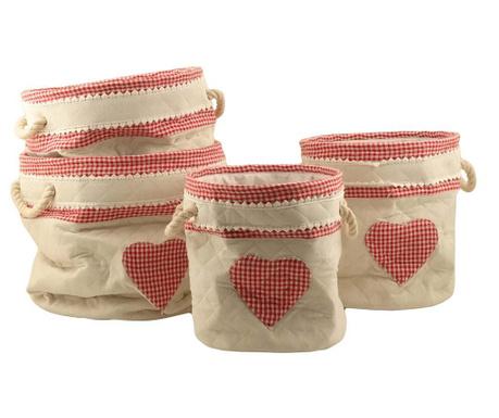 Set 4 košar Rosso Heart