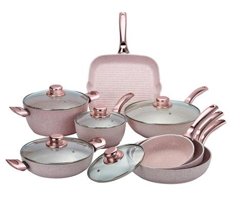 Комплект съдове за готвене 13 части Stonerose Gold