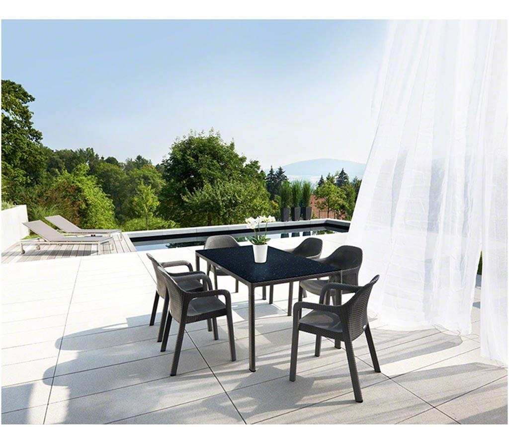 Masa pentru exterior Raffia Long Black