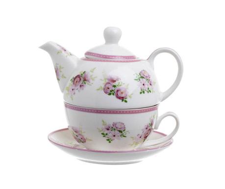 Zestaw czajniczek z filiżanką i talerzykiem Flowers