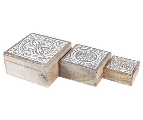 Set 3 cutii cu capac Daina Square