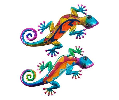 Sada 2 nástenných dekorácií Hazel Lizard