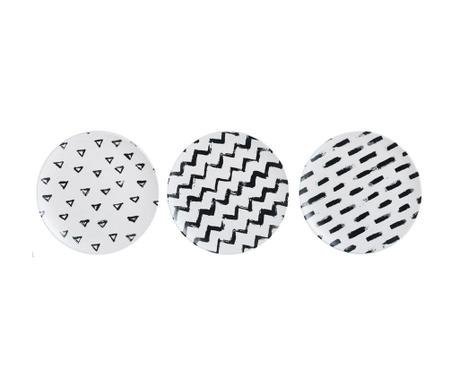 Sada 3 mělkých talířů Linear