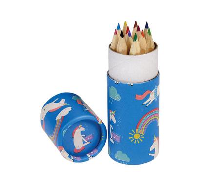 Комплект 12 цветни молива в поставка Magical Unicorn