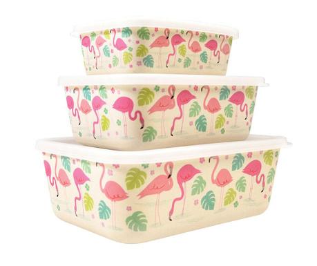 Set 3 cutii cu capac pentru depozitare Flamingo Bay