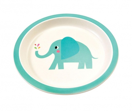 Детска плитка чиния Elvis the Elephant Bamboo