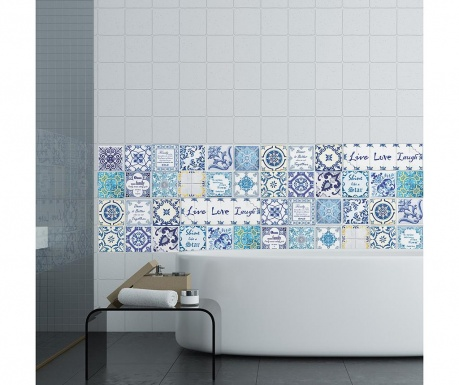Zestaw 24 naklejek Blue Mosaic