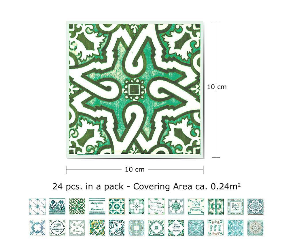 Set 24 stickere English Quote Green