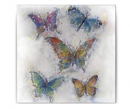 Obraz Gallery Butterflies on Grid 80x80 cm