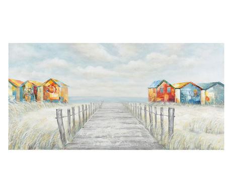 Gallery Beach Huts Festmény 70x140 cm