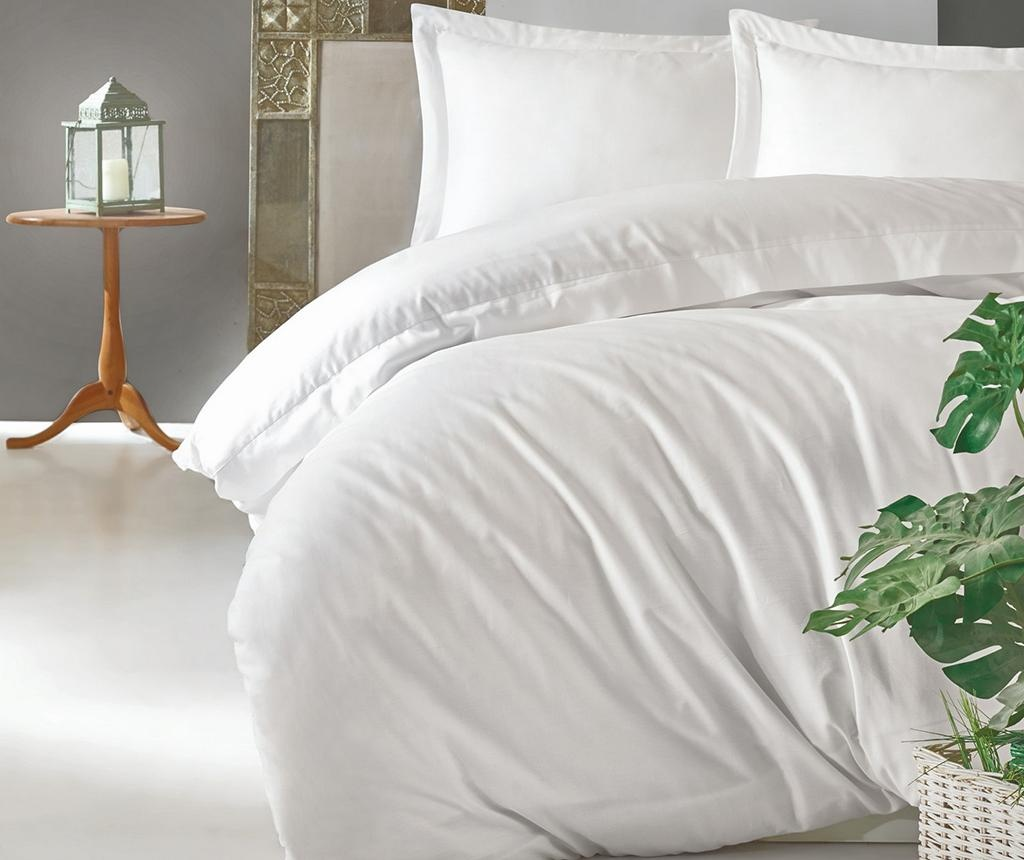 Lenjerie de pat King Satin  Supreme Elegant White 200x220