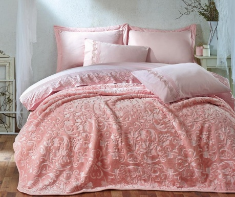 Emboss Pink King Ranforce ágynemű és takaró