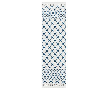 Tepih Kamala White Blue Runner 66x229 cm