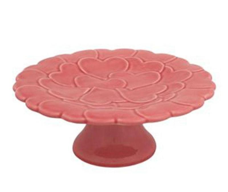 Platou cu picior Heart Pink