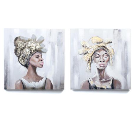 Zestaw 2 obrazów African Beauty 60x60 cm