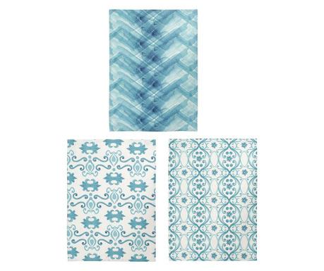 Zestaw 3 ręczników kuchennych Vabaldi Turqouise 50x70 cm