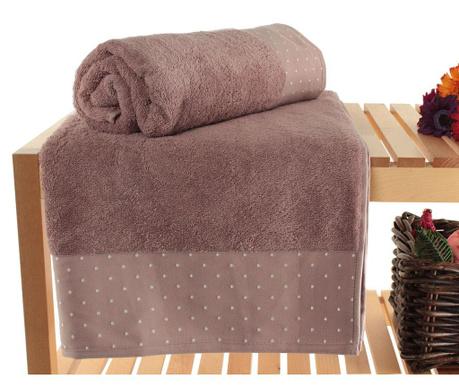 Zestaw 2 ręczników kąpielowych Polka Dots Dusty Rose 90x150 cm