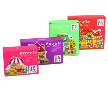 Zestaw 4 puzzli Lively Bazaar