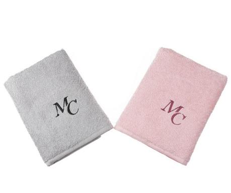 Set 2 kupaonska ručnika Nadine Grey Pink 50x90 cm