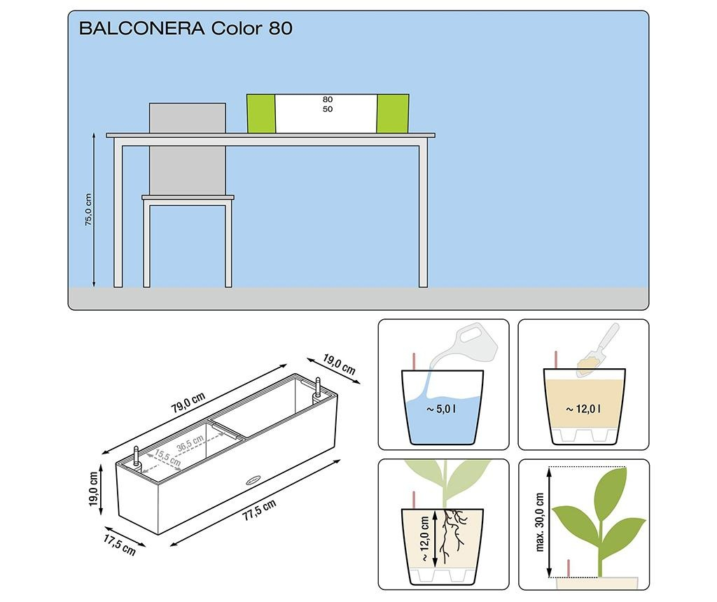 Set 2 jardiniere cu sisteme autoirigare si suport Balconera Two Soft Grey