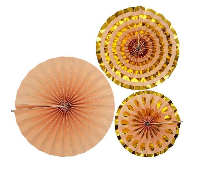 Pin Wheel Marble Peach Gold 3 db Dísz