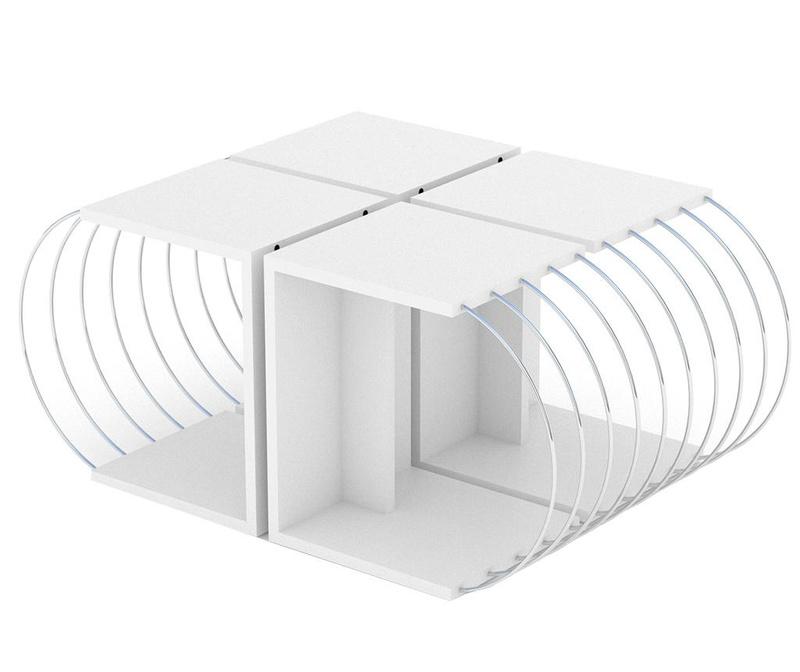 Case White Chrome 4 db Asztalka