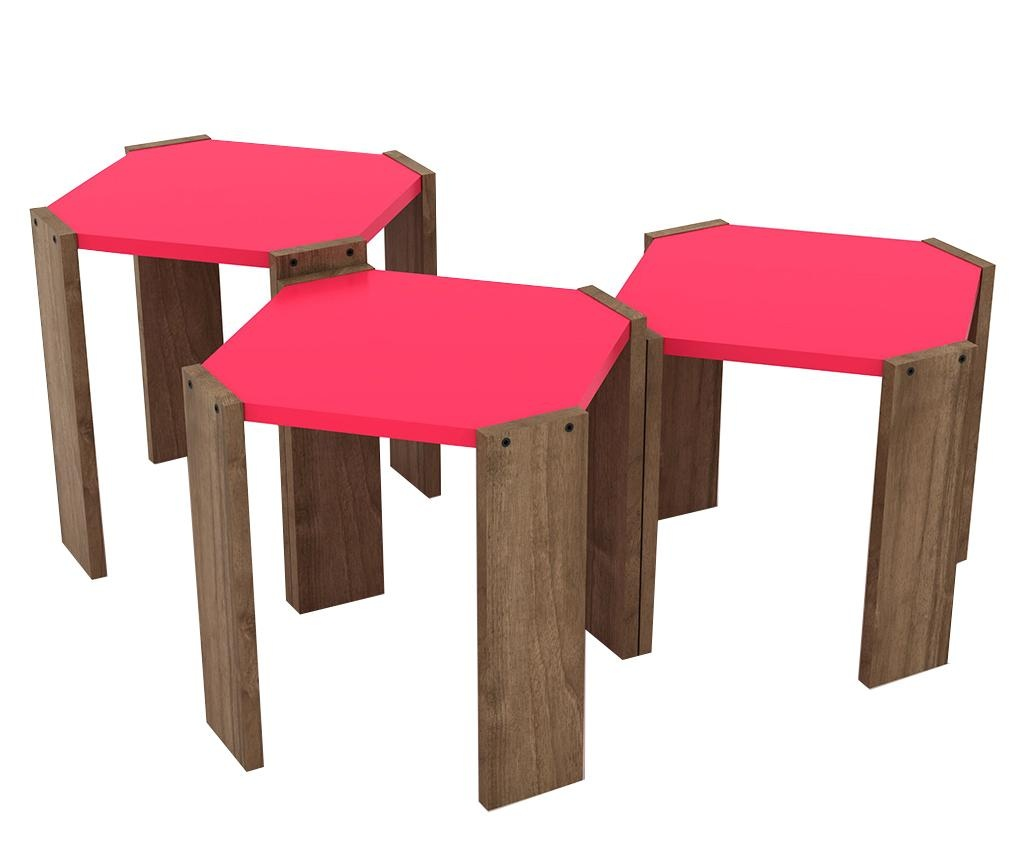 Rafevi Hansel Walnut Pink 3 db Asztalka