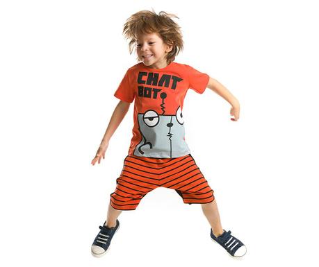 Set tricou si pantaloni scurti pentru copii Chat Bot