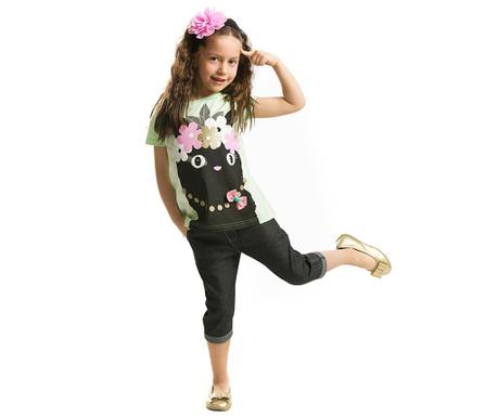 Set tricou si pantaloni trei sferturi pentru copii Cat Noir