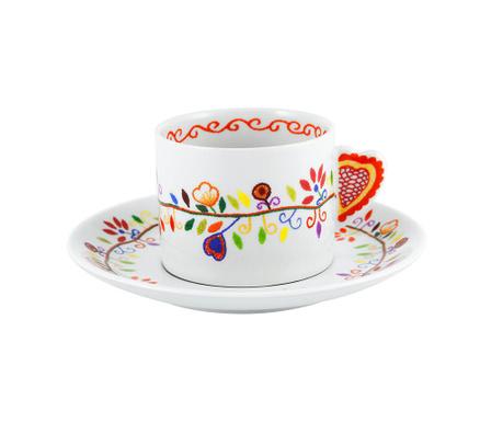Sada šálek s podšálkem na čaj Vila Colorful Swirl