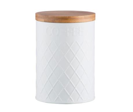 Posuda za kavu s hermetičkim poklopcem Embossed White
