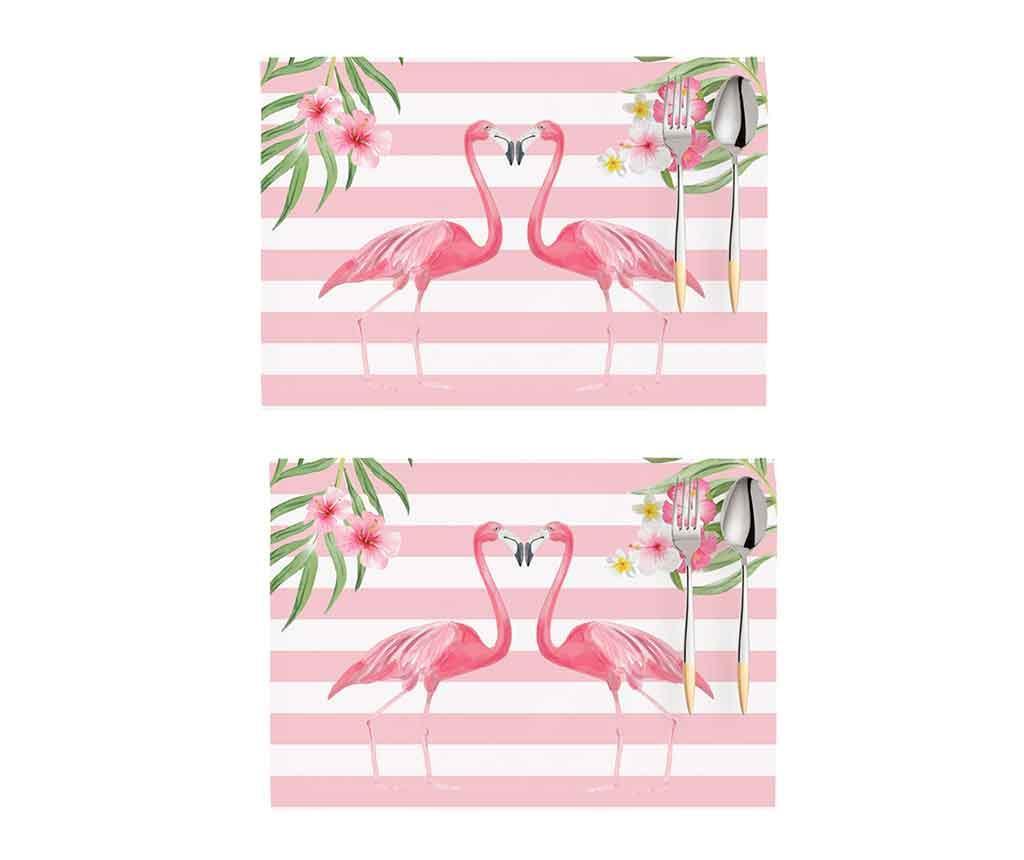 Set 2 pogrinjkov Flamingo Love Story White and Pink 33x45 cm