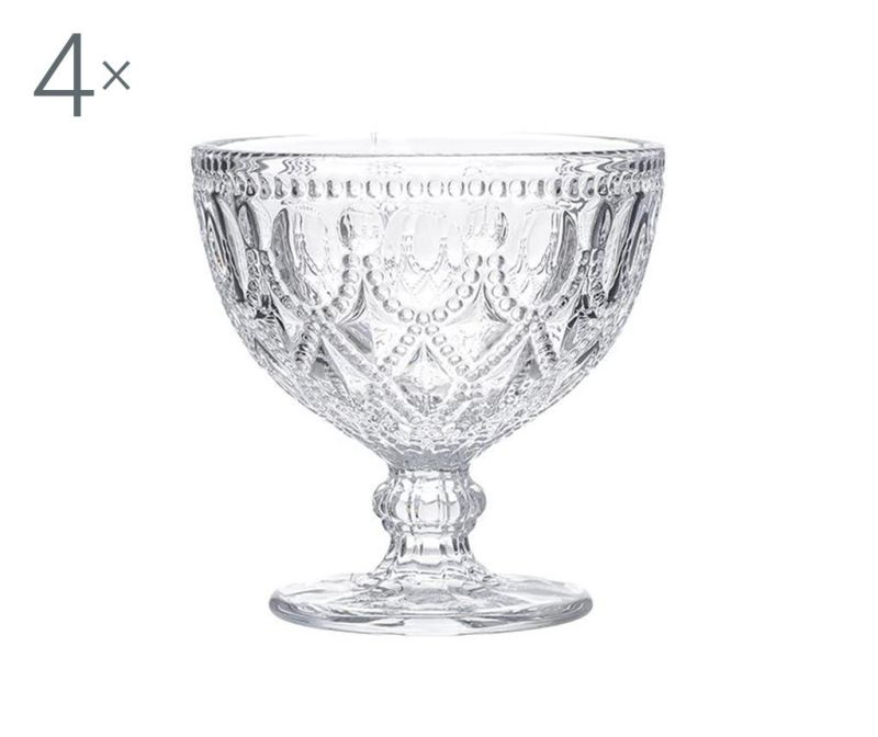 Set 4 cupe pentru inghetata Jael Clear 200 ml