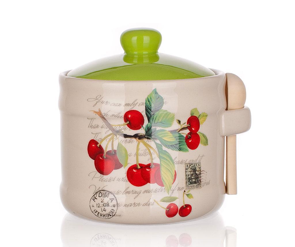 Recipient cu capac si lingurita Cherry 400 ml