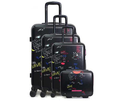 Set 3 kovčkov na kolesih in toaletne torbe Graffiti Black