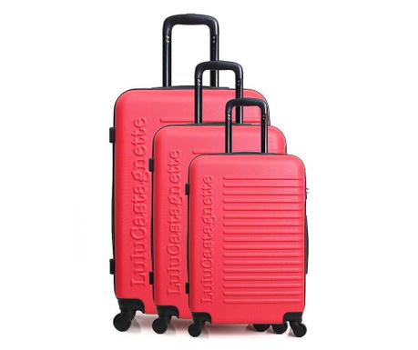 Sada 3 kolieskových kufrov Lulu Classic Bright Pink