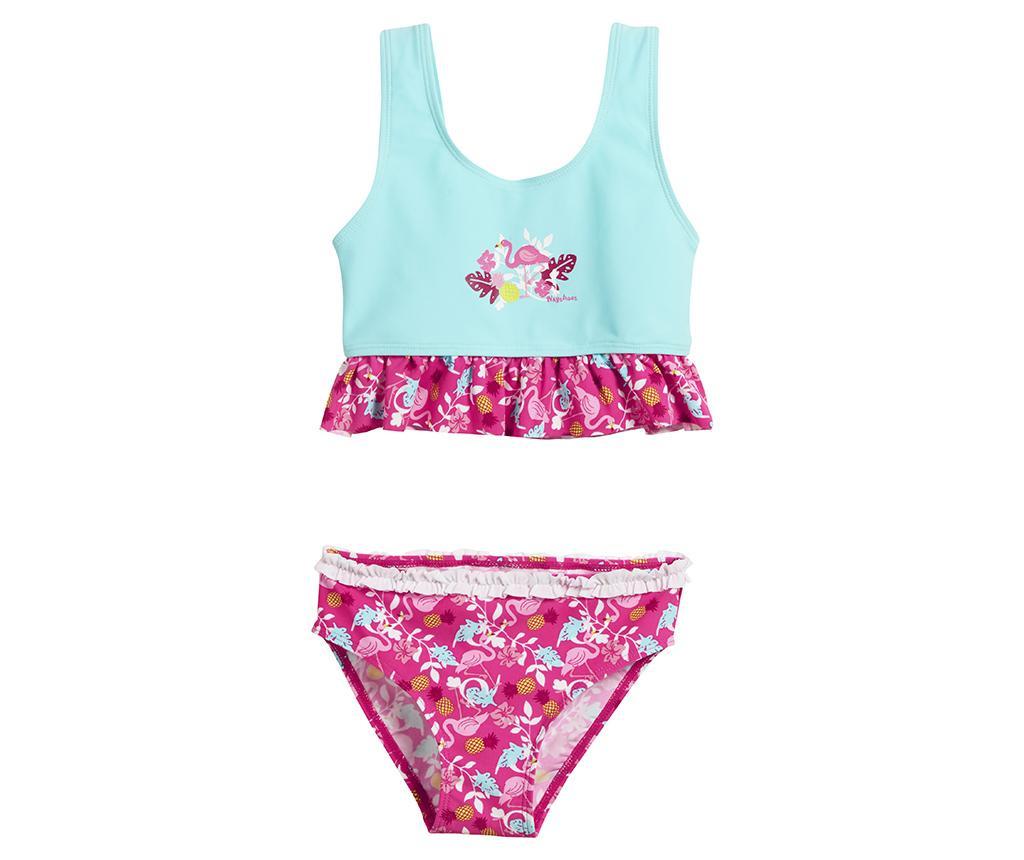 Costum de baie copii 2 piese Flamingo Blue 3-4 ani