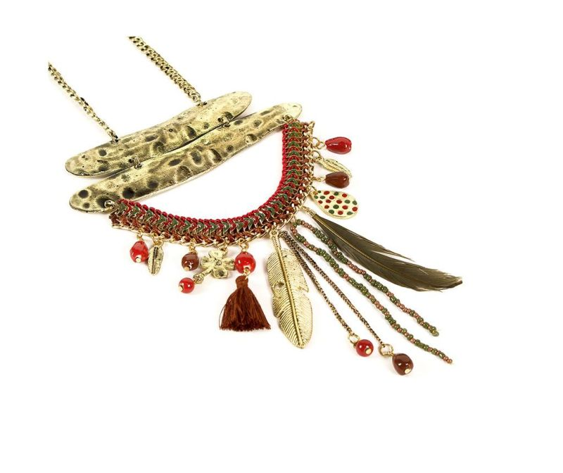 Colier Feather Red