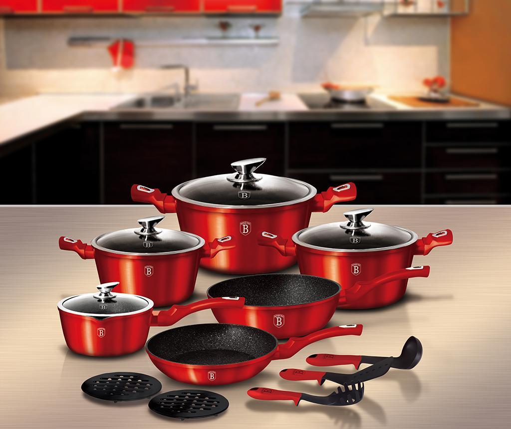 15-dijelni set posuda za kuhanje Metallic Burgundy