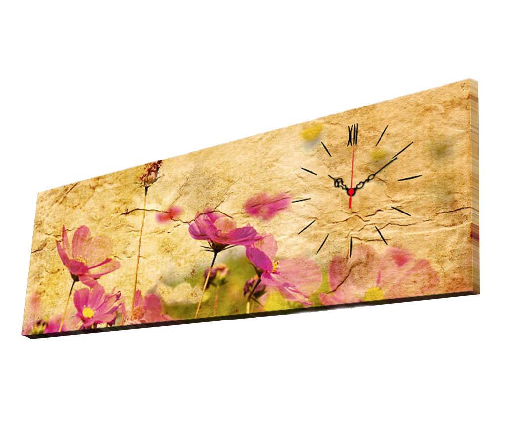 Tablou cu ceas Soft Flowers 30x90 cm