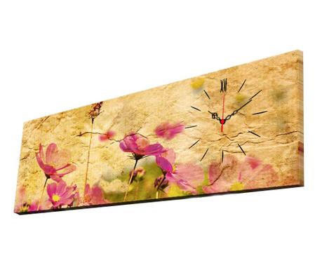 Obraz z zegarem Soft Flowers 30x90 cm
