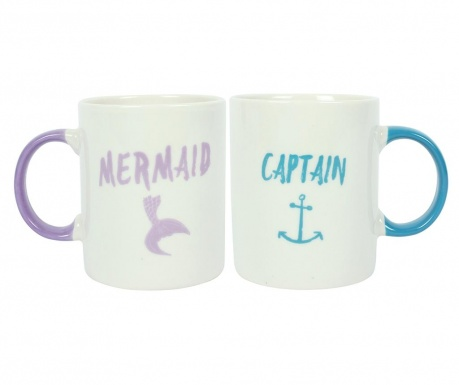 Set 2 šalice Mermaid and Captain 300 ml