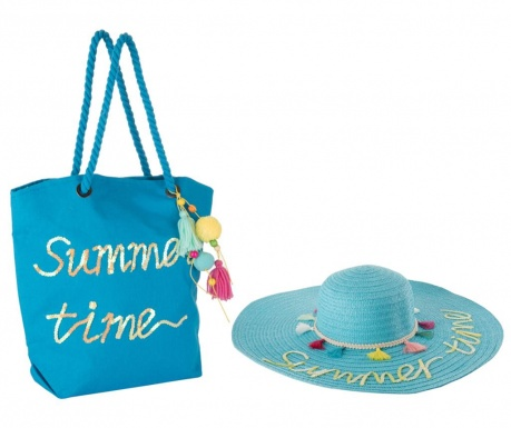 Set klobuk in torba za plažo Hello Weekend Blue