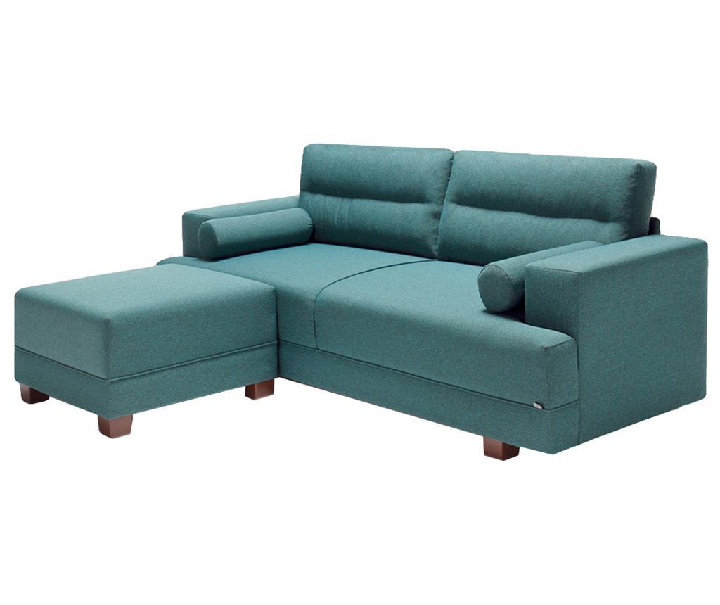 Set canapea 3 locuri si taburet pentru picioare Oslo Turquoise