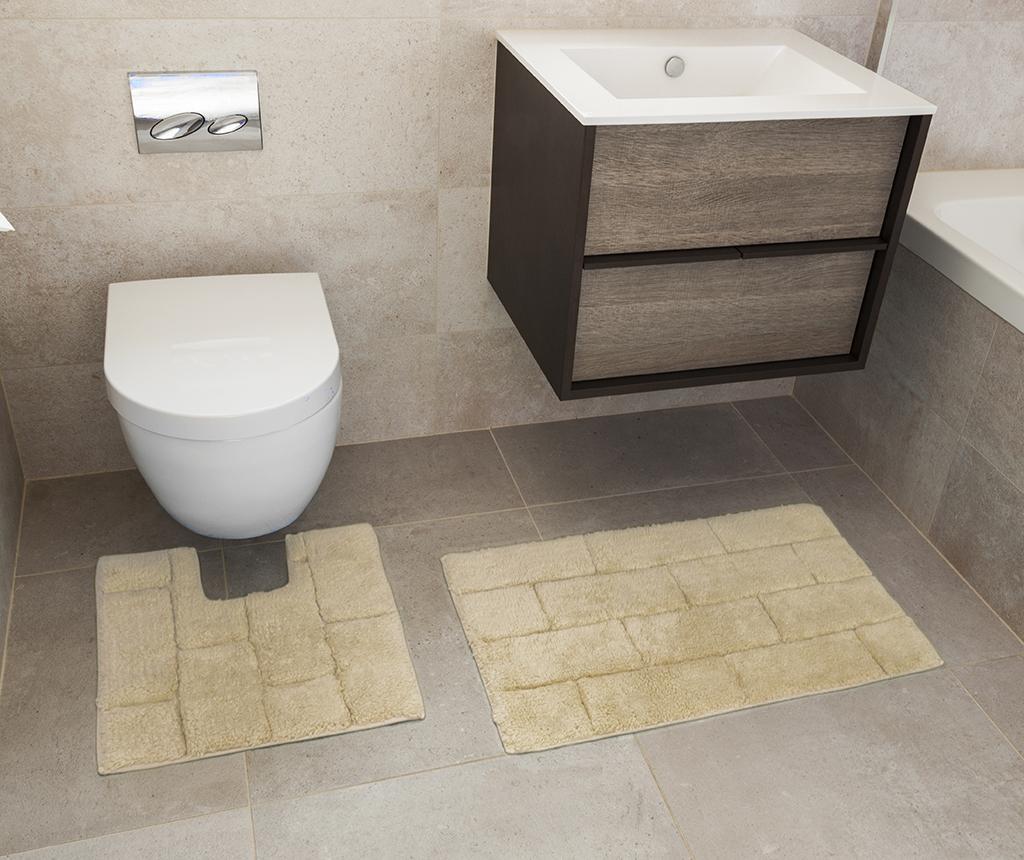 Set ručnik za noge i kupaonski tepih Quiana Natural