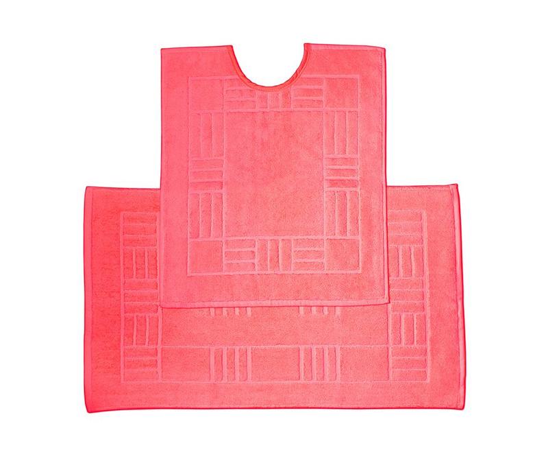 Set ručnik za noge i kupaonski tepih Reversible Verica Red